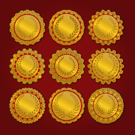 Set of luxury gold labels, medals, stickers with laurel wreath for design. Vector illustration EPS10. Vector