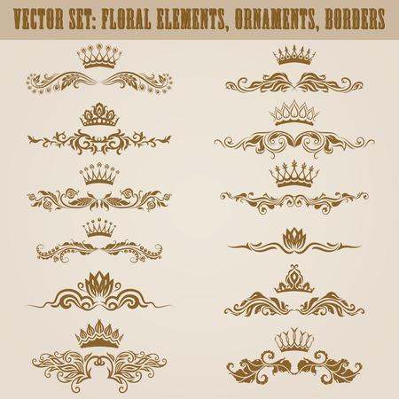 vine border: Set of vector damask ornaments. Floral elements, borders, crowns for design. Page decoration