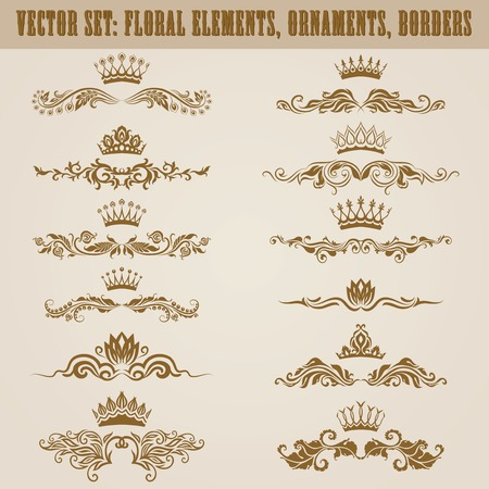 Set of vector damask ornaments. Floral elements, borders, crowns for design. Page decoration