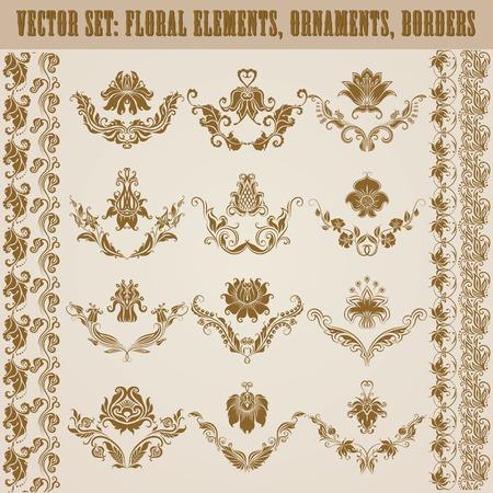 Ensemble de vecteur ornements de damas. Éléments floraux, des frontières, des couronnes pour la conception. Décoration de la page. Banque d'images - 27710162