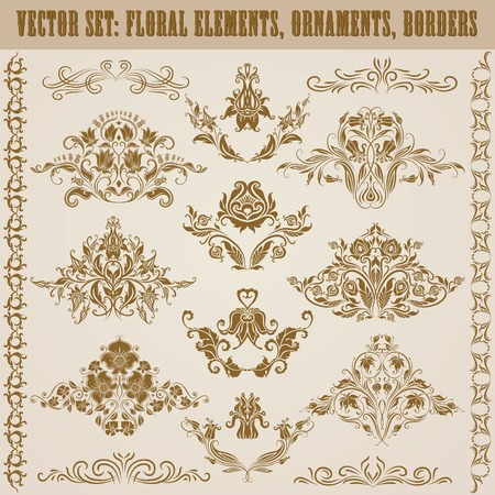 Set of vector damask ornaments. Floral elements, borders, crowns for design. Page decoration. Vector