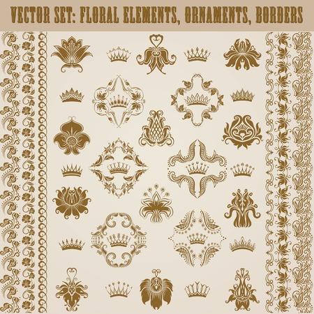 ornaments floral: Set of damask ornaments. Floral elements, borders, crowns for design. Page decoration