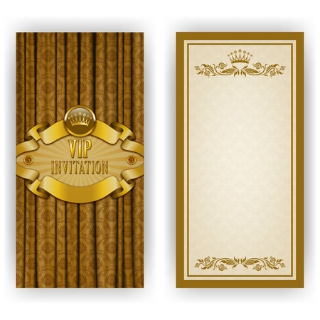 royal rich style: Elegant template luxury invitation, card with lace ornament, crown, place for text. Floral elements, ornate background.