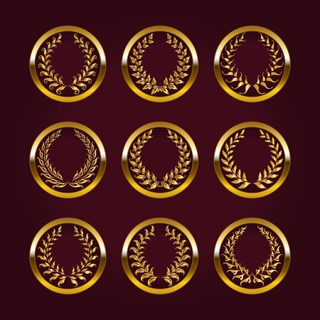Set of luxury gold labels, medals, stickers with laurel wreath for design.  Vector