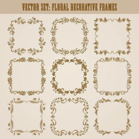 vintage scrolls: set of decorative ornate border and frame with floral elements