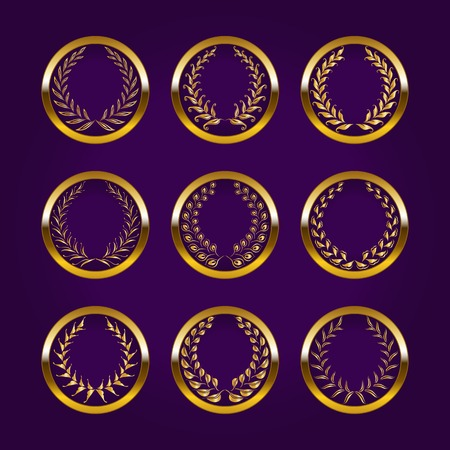 Set of luxury gold labels medals stickers with laurel wreath for design vector illustration