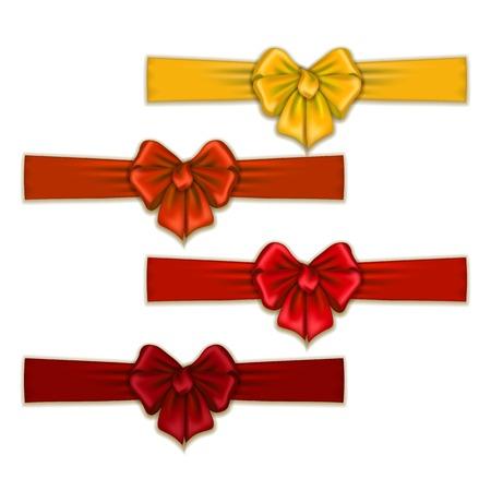 Set of elegant silk colored bows for design. Vector