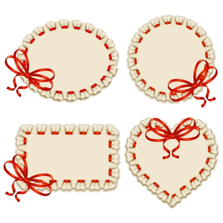 ruffles: Set of elegant templates of frame design for luxury invitation, gift card with ruffles, bow, place for text.
