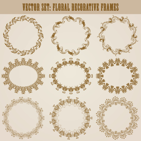 Vector set of decorative ornate border and frame with floral elements for invitations, gift, greeting card In vintage style Page decoration Vector