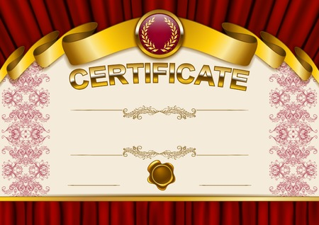 Elegant template of certificate, diploma with lace ornament, ribbon, wax seal, drapery fabric, place for text