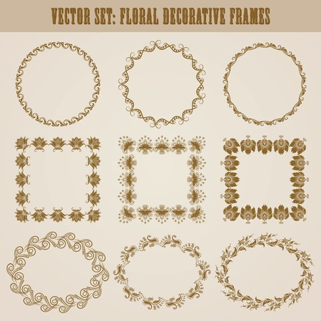Vector set of decorative ornate border and frame with floral elements for invitations, gift, greeting card. In vintage style. Page decoration. Vector
