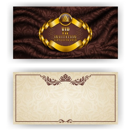 gothic design: Elegant template for luxury invitation, gift card with lace ornament, crown, ribbon, laurel wreath, drapery fabric, place for text. Floral elements, ornate background. Vector illustration EPS 10. Illustration