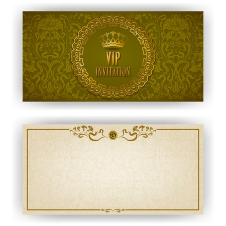 Elegant template luxury invitation, card with lace ornament, place for text. Floral elements, ornate background.  Vector