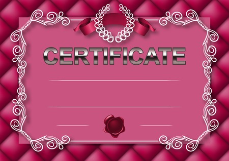 tufted: Elegant template of certificate, diploma with decoration of lace pattern, ribbon, wax seal, laurel wreath, button-tufted texture, place for text.