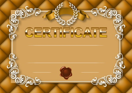 Elegant template of certificate, diploma with decoration of lace pattern Vector