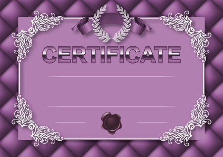 Elegant template of certificate, diploma with decoration of lace pattern, ribbon, wax seal, laurel wreath, button-tufted texture, place for text.  Vector