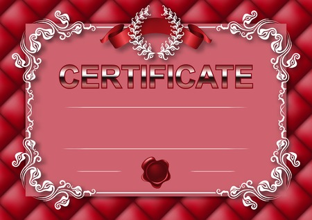 tufted: Elegant template of certificate, diploma with decoration of lace pattern, ribbon, wax seal, laurel wreath, button-tufted texture, place for text. Certificate of achievement, education, awards, winner.