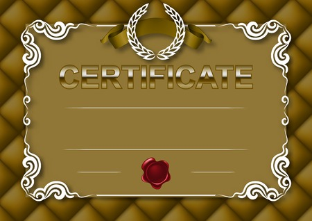 Elegant template of certificate, diploma with decoration of lace pattern, ribbon, wax seal, laurel wreath, button-tufted texture, place for text. Certificate of achievement, education, awards, winner.  Vector