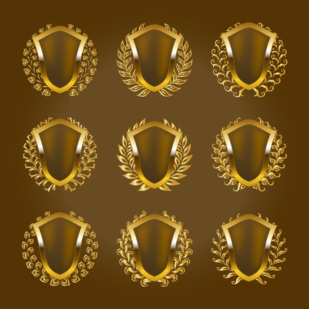 wreath collection: Set of golden vector shields with laurel wreath. Heraldic emblems with place for text on the background.