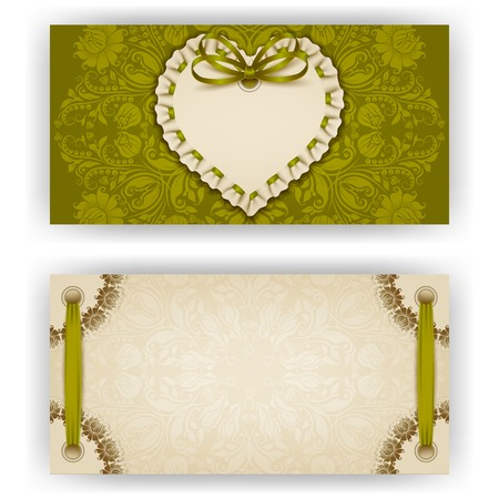 ruffles: Elegant template of luxury invitation, gift, greeting card with ruffles, lace ornament, ribbon, bow, heart frame, place for text. Floral elements, ornate background. Valentine day vector illustration EPS 10. Illustration