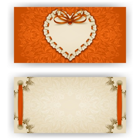 ruffles: Elegant template of luxury invitation, gift, greeting card with ruffles, lace ornament, ribbon, bow, heart frame, place for text
