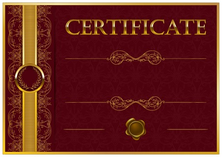 Elegant template of certificate, diploma with decoration of lace pattern, ribbon, wax seal, laurel wreath, place for text. Certificate of achievement, education, awards, winner. Vector illustration EPS 10. Иллюстрация