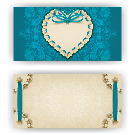 ruffles: Elegant template of luxury invitation, gift, greeting card with ruffles, lace ornament, ribbon, bow, heart frame, place for text. Floral elements, ornate background. Valentines day vector illustration EPS 10.
