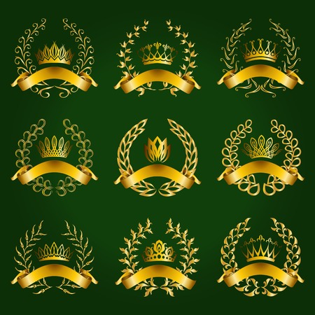 Set of luxury gold labels, emblems, medals, stickers with laurel wreath, filigree crown, ribbon for design. Vector illustration. Vector