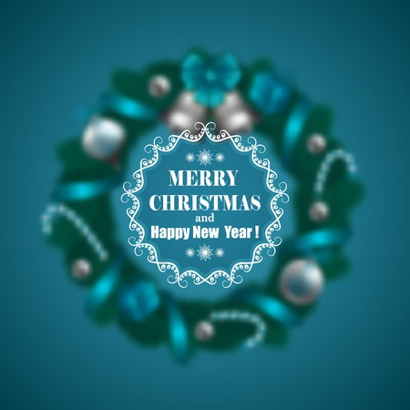 beautiful tree: Festive Christmas blurred background with wreath of fir branches, bells, baubles, lollipops and ornate frame. Holiday design for invitations, greeting cards, posters and flyers. Vector illustration EPS 10.