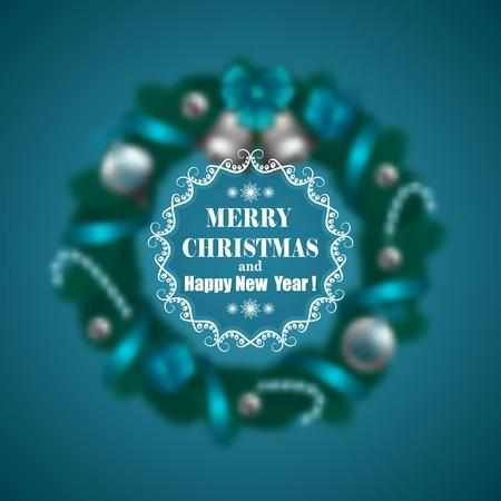 tree  pine: Navidad festiva borrosa fondo con guirnalda de abeto ramas, campanas, bolas, paletas y marco adornado. Dise�o de vacaciones para las invitaciones, tarjetas de felicitaci�n, carteles y folletos. Ilustraci�n del vector EPS 10.