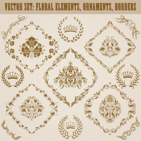 ornaments vector: Set of vector damask ornaments. Floral elements, borders, crowns, laurel wreaths for design. Page decoration.