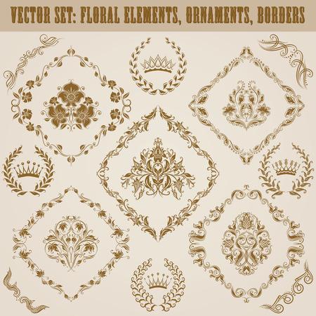 ornaments floral: Set of vector damask ornaments. Floral elements, borders, crowns, laurel wreaths for design. Page decoration.
