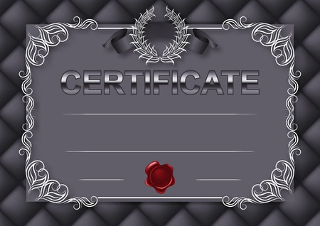 button tufted: Elegant template of certificate, diploma with decoration of lace pattern, ribbon, wax seal, laurel wreath, button-tufted texture, place for text. Certificate of achievement, education, awards, winner. Vector illustration EPS 10. Illustration