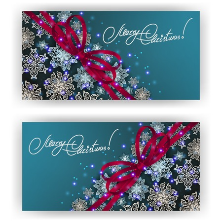 Set of templates with paper snowflakes, shiny stars, ribbon, bow for New Years greeting card, invitation, congratulation. Christmas festive background. Vector illustration EPS10. Illustration