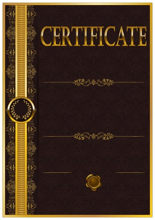 antique art: Elegant template of certificate, diploma with decoration of lace pattern, ribbon, laurel wreath, place for text. Certificate of achievement, education, awards, winner. Vector illustration EPS 10.