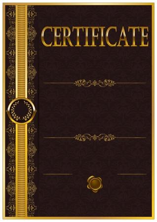 arte moderno: Plantilla elegante de certificado, diploma con la decoraci�n de patr�n de encaje, cinta, corona de laurel, el lugar de texto. Certificado de logro, la educaci�n, los premios, el ganador. Ilustraci�n del vector EPS 10.