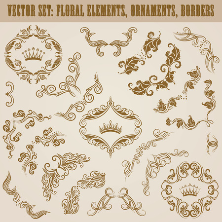 Set of vector decorative floral elements, borders, corners, crowns for design. Page decoration in vintage style. Vector