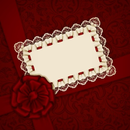 Elegant template luxury invitation, gift card with lace ornament, ribbon, silk bow, place for text. Floral elements, ornate background. Vector illustration EPS 10. Vector