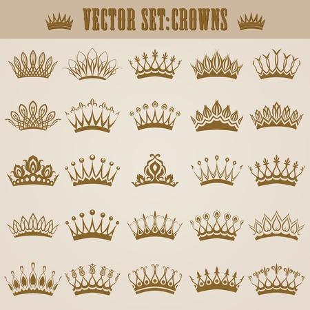 corona reina: Conjunto de coronas de oro victoriano decorativos para el diseño. En el estilo vintage. Ilustración del vector.