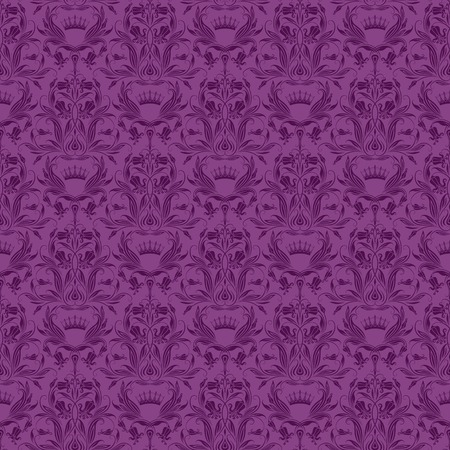 ダマスク織のシームレス花柄。ロイヤルの壁紙。紫色の背景に花の装飾品。ベクトル図  イラスト・ベクター素材