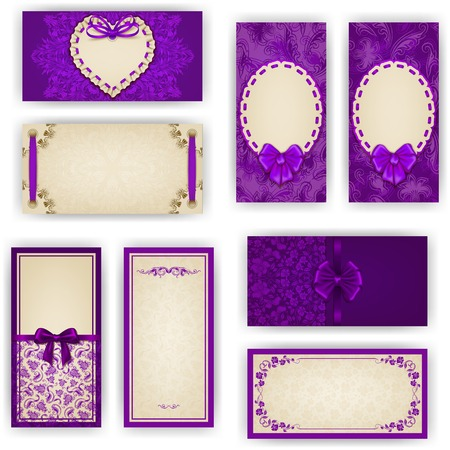 business invitation: Set of elegant templates for luxury invitation, gift, greeting card with ruffles, lace ornament, ribbon, bow, heart frame, place for text. Floral elements, ornate background. Vector illustration EPS 10