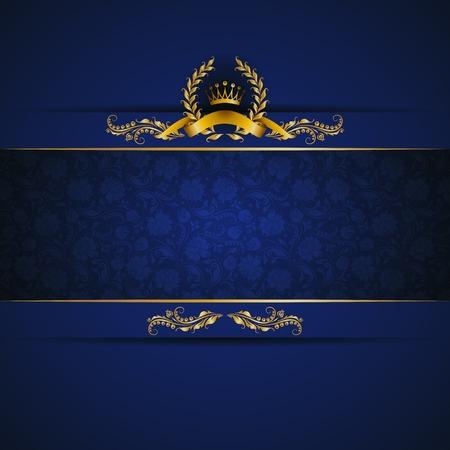 Banner elegante cornice dorata con corona d'oro, corona di alloro su sfondo blu ornato. Sfondo floreale di lusso in stile vintage. Illustrazione vettoriale EPS 10. Archivio Fotografico - 34179257