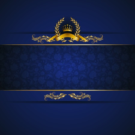Elegant golden frame banner with gold crown, laurel wreath on ornate blue background. Luxury floral background in vintage style. Vector illustration EPS 10.