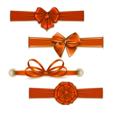 ribbons and bows: Set of elegant silk color bows, ribbons for design. Vector illustration EPS10. Illustration