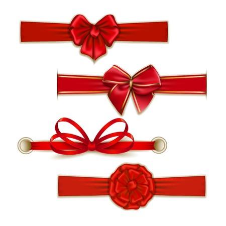 bows: Set of elegant silk color bows, ribbons for design. Vector illustration EPS10. Illustration