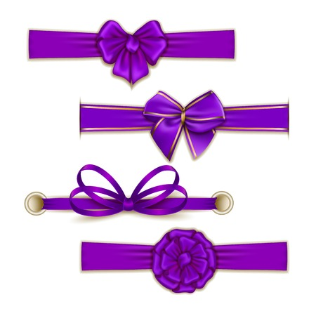 eps10: Set of elegant silk color bows, ribbons for design. Vector illustration EPS10. Illustration