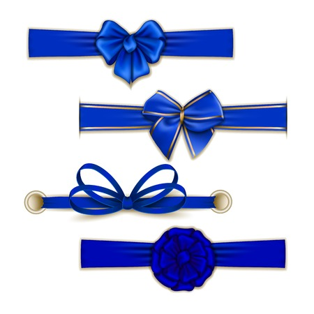 silk ribbon: Set of elegant silk color bows, ribbons for design. Vector illustration EPS10. Illustration