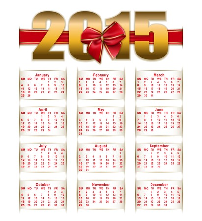 Elegant Template For 2015 Calendar Year With Ribbon Bow Vector