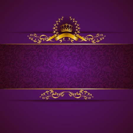 Elegant golden frame banner with gold crown, laurel wreath on ornate purple background. Luxury floral background in vintage style. Vector illustration EPS 10.