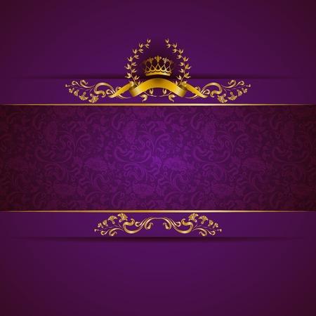 Elégant bannière cadre doré avec couronne d'or, couronne de laurier sur fond violet orné. Luxe fond floral dans le style vintage. Vector illustration EPS 10. Vecteurs
